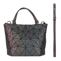 Geometric Laser Bag Luminous Hand Bag Ringer Bag38*26*13cm Black