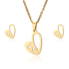 Lovely Heart Sun Stainless Steel Stud Earrings Necklace Set Charm Jewelry Gift Gold heart