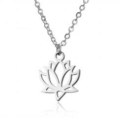 Silver Stainless Steel Animal Cat Elephant Pendant Necklace Fashion Jewelry Gift Lotus Flower