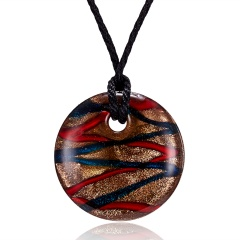 Handmade Lampwork Murano Glass Colorful Round Stripe Pendant Necklace Blue&Red
