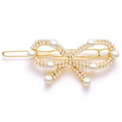 New Fashion Bowknot pearl side clip hair clip hairpins for women girls bowknot3