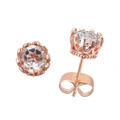 Fashion Silver/Rose Gold Crystal Stud Earrings Turquoise Womens Wedding Bride Jewelry Gift Zircon Rose Gold