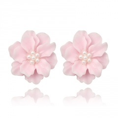 Fashion Big Flower Earrings Ear Stud Pink