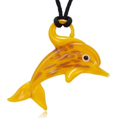 Dolphin Animal Glass Necklace 6 Colors To Choose Yellow Dolphin