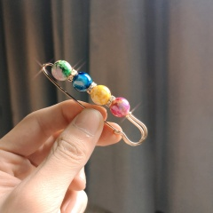 4 Large Natural Stone Beads Brooch Pearl Rose