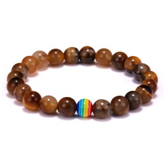 Women Men Beaded Bracelets Simple Classic Round Rainbow Charm Bracelets & Bangles For Men Handmade Accessories Gift Tigereye