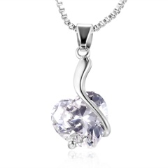 Simple Crystal Hollow Love Necklace Silver Crystal