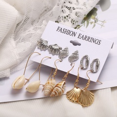 Fashion Gold Shell Earrings Set 6pairs gold