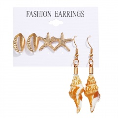 Fashion Gold Shell Earrings Set 3pairs gold