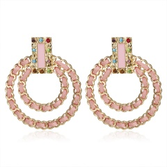Fashion Double Ring Earrings pink