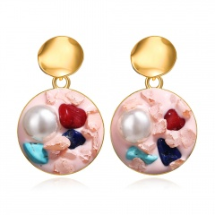 Fashion Pearl Shell Round Earrings pink