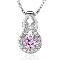 Fashion Zircon Gourd Shaped Pendant Necklace Pink
