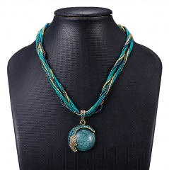 Retro Ethnic Style Short Sweater Chain Beads Pendant Necklace Handmade Jewelry Blue