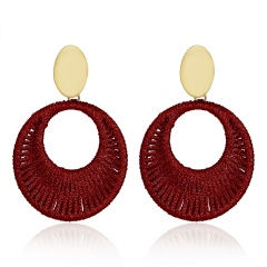 Geometric Circle Hand-woven Earrings Red