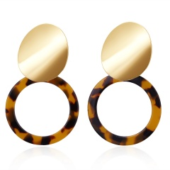 Geometric Hollow Round Acetate Earrings Brown