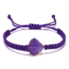Fan-Shaped Natural Stone Drusy Charm Bracelets For Women Men Handmade Elastic Rope Bracelet Wristband Bohemia Jewelry PURPLE