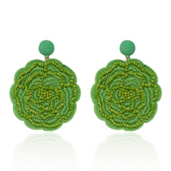 Rose Flower Hand-woven Earrings Green