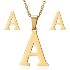 Stainless Steel Letter Necklace Earrings A