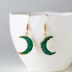 Trendy Simple Crescent Moon Drop Earrings For Women Colorful Natural Stone Resin Female Jewelry Fashion Statement Earrings 2019 Green