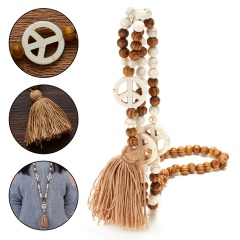 Handmade Wooden Beads Tassel Pendant Peace Sign