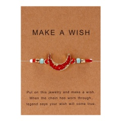 moon hand-woven paper card bracelet red