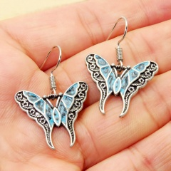 2020 Silver Turquoise Ear Hook Stud Drop Dangle Moonstone Sapphire Earrings Butterfly