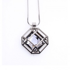 Korean Square Hollow Crystal Autumn Winter Long Sweater Chains Pendant Necklace Fashion Birthday Party Jewelry Accessories Gray