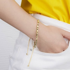 Fashion Womens Mens Metal Beaded Bracelet Lucky Lovers Couples Adjustable Bangle Gold