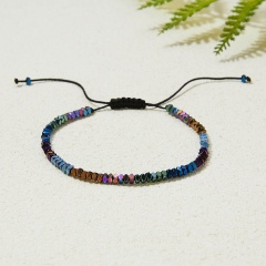 Fashion Womens Mens Metal Beaded Bracelet Lucky Lovers Couples Adjustable Bangle Brown Colorful