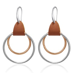 Fashion Geometric Double Round Rectangle Leather Hoop Earrings Women Jewelry Double Round