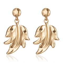 Fashion Gold Leaf Flowers Boho Earrings Dangle Stud Women Party Statement Gift Leaf