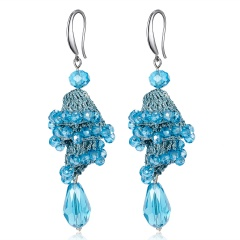 Fashion Crystal Beads Dangle Earrings Boho Long Tassel Women Handmade Ear Hook Blue