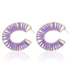 Fashion Winding Hand-woven Raffia Geometric Stud Earrings Purple