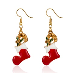 Gold Alloy with Pearl Simle Dangle Earring Fashion Simple Cute Earring Jewelry Christmas Socks