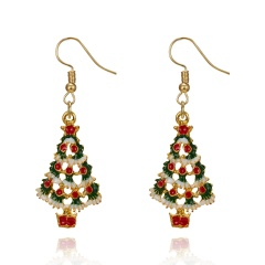 Gold Alloy with Pearl Simle Dangle Earring Fashion Simple Cute Earring Jewelry Tree