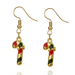 Gold Alloy with Pearl Simle Dangle Earring Fashion Simple Cute Earring Jewelry Christmas Cane