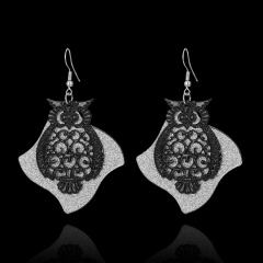 Boho Geometric Quadrilateral Hollow Owl Frosted Earrings Black