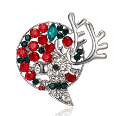 Rinhoo 1PC Colorful Christmas Elk Wreath Rhinestone Alloy Painting Oil Brooch For Women's Fashion Jewelry Gift Elk 1