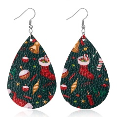 New Fashion Retro Ethnic Christmas Leather Earring Creative Sparkly Oval Teardrop Pendant Fashion Earring for Women Jewelry Gift Christmas socks bell