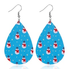New Fashion Retro Ethnic Christmas Leather Earring Creative Sparkly Oval Teardrop Pendant Fashion Earring for Women Jewelry Gift Snowman