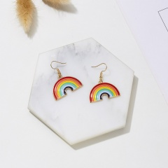 Cute Rainbow Dangle Earrings For Women Pendientes Jewelry Simple Girls Brincos Colorful LGBT Rainbow Charm Drop Earrings Rainbow