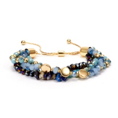 Rinhoo Fashion Multilayer Colorful Crystal Beads Bracelets Round Beaded Bangles Pulseras Mujer Jewelry for Women Gift 3 Colors BLUE