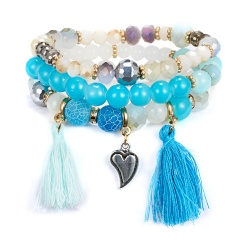 Vintage Tassel Crystal Stone Bracelet Multilayer Beads Bangle Tassels Bracelets for Women Ladies Bohemian Wristband Jewelry Gift BLUE-WHITE