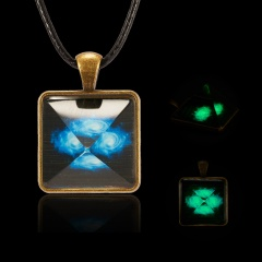 Solar System Necklace Pendant Planet Glow In Dark Galaxy Double Sided Glass Dome Pyramid-Sunrise