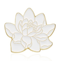 Rinhoo 1PC Round Shape Weave Pattern and Lotus Shape Alloy Painting Oil Badge Brooch For Women's Fashion Jewelry Gift Lotus