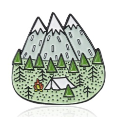 Mountains Trees Jungle Brooch Nature Forest Camping Adventure Enamel Pin Squirrel Driving Frog Badge Bag Fashion Jewelry mountain