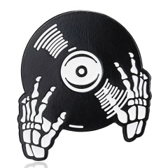 Punk Music Disc Lovers Enamel Pin Tape DJ Vinyl Record Player Badge Brooch Cool Gothic Jewelry Gift Phonograph TV Brooch skeleton