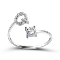 A-Z 26 Letters Initial Tiny Rings Adjustable Opening Ring Name Alphabet Party Jewelry Rhinestone English Letters Finger Rings Q