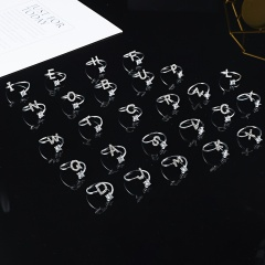 A-Z 26 Letters Initial Tiny Rings Adjustable Opening Ring Name Alphabet Party Jewelry Rhinestone English Letters Finger Rings D