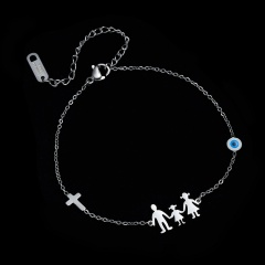 Stainless Steel Charm Family Bracelets Mom Dad Daughter Son Kids Boys Girls Cross Bracelet Silver Color Friends Couple Jewelry MOM-DAD-DAUGHTER